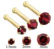 14K Gold Nose bone with Round Garnet