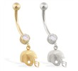14K Gold jeweled belly ring with dangling football helmet charm