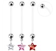 Long flexible bioplast pregnancy belly ring with CZ star