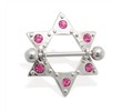 Pair of pink jeweled star nipple shields, 14 ga