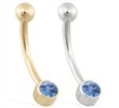 14K Gold Bezel Set Blue Zircon Belly Ring