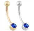 14K Gold Bezel Set Sapphire Belly Ring