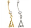 14K Gold belly ring with dangling baseball bat charm