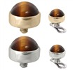14K Gold internally threaded dermal top ball with 4mm Tiger Eye Brown Cabochon