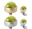 14K Gold internally threaded dermal top ball with 4mm Peridot Cabochon