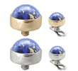 14K Gold internally threaded dermal top ball with 4mm Lapis Cabochon