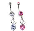 Belly Ring with Large CZ and Floating Hearts Dangle