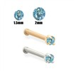 14K Gold Aqua Blue Diamond Nose Bone