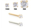 14K Gold Clear Diamond Nose Stud