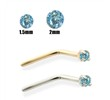 14K Gold Aqua Blue Diamond Nose Pin