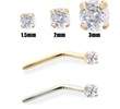 14K Gold Clear Diamond Nose Pin