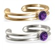 14K gold toe ring with single Amethyst gem