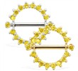 14K Gold Internally Threaded Nipple Ring Shield, Sold Individually