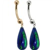 14K Gold Blue Green Opal Teardrop Belly Ring