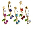 Gold Plate Belly Ring with CZ Cherries