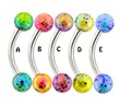 Surgical Steel Curved Barbell with Balls with Multicolored splatter