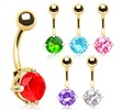 Gold Tone Prong Set CZ Navel Ring