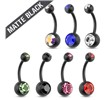 Matte Black Surgical Steel Navel Ring With Double Jewels
