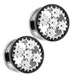 Pair Of Surgical Steel Steampunk Gear Screw-Fit Tunnels