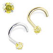 14K Gold Nose Screw with Canary Diamond, 20 Ga