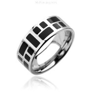 316L Stainless Steel Rings. Black Mozaic