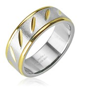 316L Surgical Stainless Steel Ring with Brushed Steel Center gold slashes