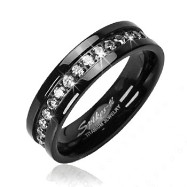 Solid Titanium with Black and CZ Stone Band Ring