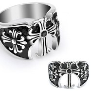 316L Surgical Steel Ring with Three Medieval Cross with a Black Gem