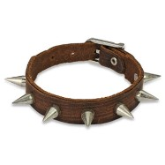 Brown Leather Bracelet With Multi Steel Spikes