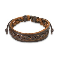 Brown Leather Bracelet With Double Strings Weaved Center