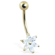 14K Gold Belly Ring With 6-Petal Jeweled Flower