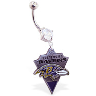 Mspiercing Belly Ring with Official Licensed NFL Charm, Baltimore Ravens