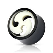 Pair Of Organic Buffalo Horn Tunnels with Swirled Bone Inlay