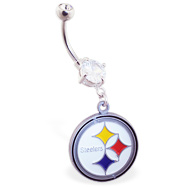 Mspiercing Belly Ring with Official Licensed NFL Charm, Pittsburgh Steelers