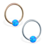 14K Gold captive bead ring with blue  opal ball