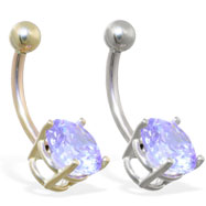 14K Gold belly ring with large 8mm Blue Zircon