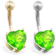 14K Gold belly ring with peridot 8mm CZ heart