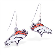 Mspiercing Sterling Silver Earrings With Official Licensed Pewter NFL Charm, Denver Broncos