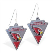 Mspiercing Sterling Silver Earrings With Official Licensed Pewter NFL Charm, Arizona Cardinals