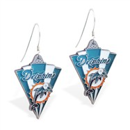 Mspiercing Sterling Silver Earrings With Official Licensed Pewter NFL Charm, Miami Dolphins