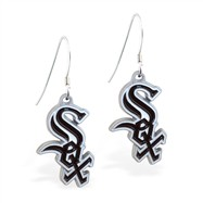 Mspiercing Sterling Silver Earrings With Official Licensed Pewter MLB Charms, Chicago White Sox
