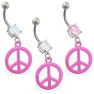 Belly ring with dangling pink peace sign