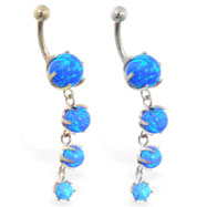 14K Gold belly ring with quadruple blue opal dangle