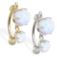 14K Gold reversed belly ring with double White opal dangle