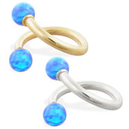 14K Gold twister barbell with Blue opal balls , 14ga