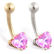 14K Gold belly ring with pink tourmaline 6mm CZ heart