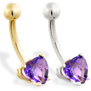 14K Gold belly ring with amethyst 6mm CZ heart