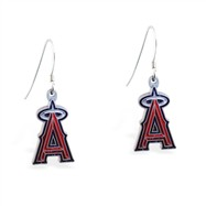Mspiercing Sterling Silver Earrings With Official Licensed Pewter MLB Charms, Los Angeles Angels