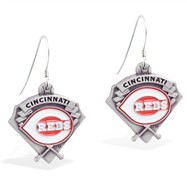 Mspiercing Sterling Silver Earrings With Official Licensed Pewter MLB Charms, Cincinnati Reds
