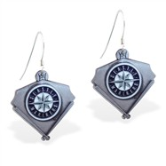 Mspiercing Sterling Silver Earrings With Official Licensed Pewter MLB Charms, Seattle Mariners